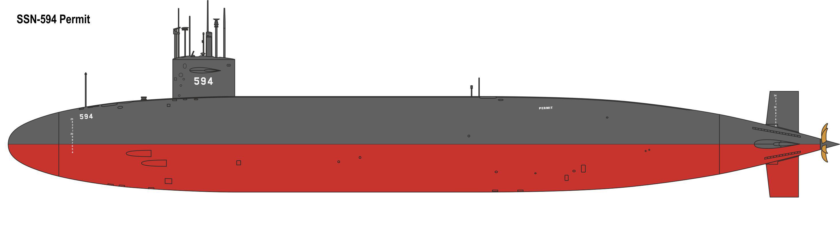 Navy Submarine PERMIT SSN-594 U.S Modelsvit Models 1//144 U.S.S